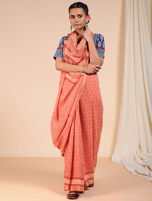 Pink-Ivory Dabu Printed Chanderi Saree with Zari