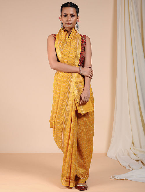 Yellow-Ivory Dabu Printed Chanderi Saree with Zari