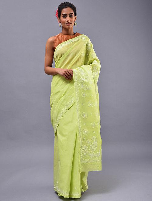 Green Chikankari Cotton Blend Saree
