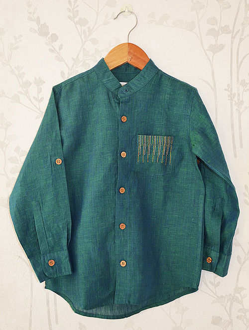 Green Mandarin Collar Linen Shirt with Detail Embroidery on Pocket