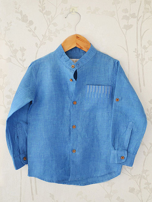 Blue Mandarin Collar Linen Shirt with Detail Embroidery on Pocket