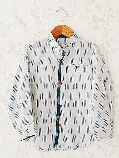 Cream Mandarin Collar Ikat Cotton Shirt
