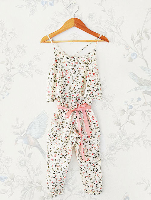 Cream Floral Printed Rayon Jumpsuit with Frills
