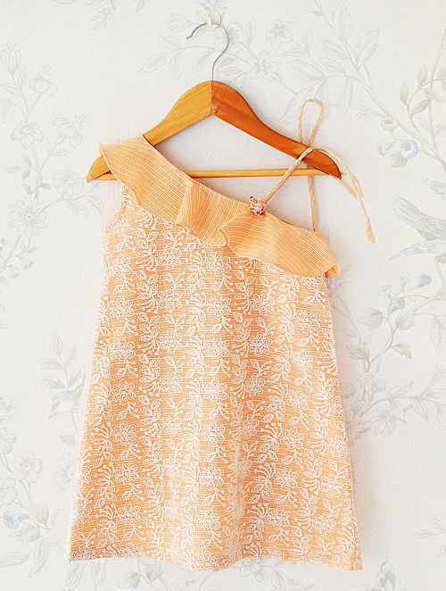 Peach Floral Printed Woven Cotton and Silk Off-Shoulder Dress