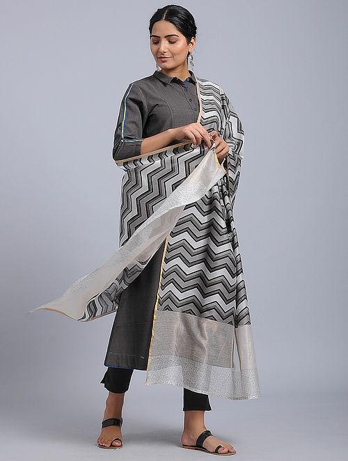Ivory-Black Block-printed Chanderi Duppata with Zari