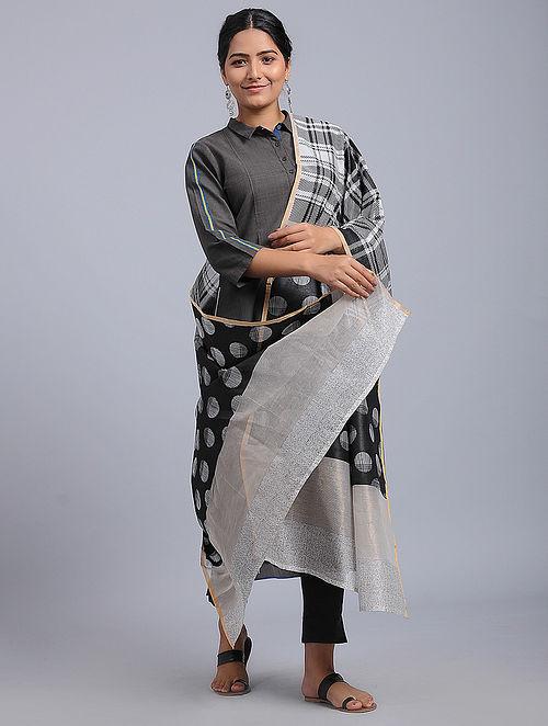 Black-Ivory Block-printed Chanderi Duppata with Zari