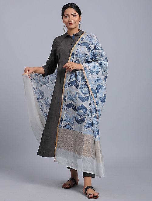 Ivory-Blue Block-printed Chanderi Duppata with Zari