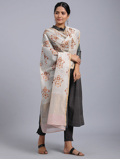 Ivory-Red Block-printed Chanderi Duppata with Zari