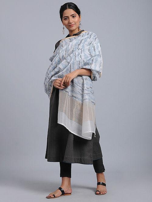 Grey-Blue Block-printed Chanderi Duppata with Zari