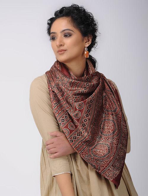 bd1c62724fa95 Buy Red-Black Ajrakh-printed Mashru Stole Online at Jaypore.com