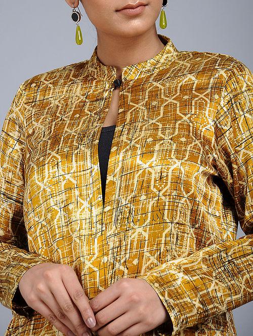 8ec179545e270 Buy Mustard Handblock-Brush printed Mashru Silk Overlay Online at ...