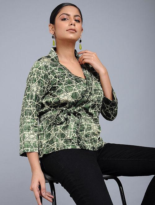 ad6cc8b54efd6 Green Handblock-Brush printed Mashru Silk Top Crafted In Elegance
