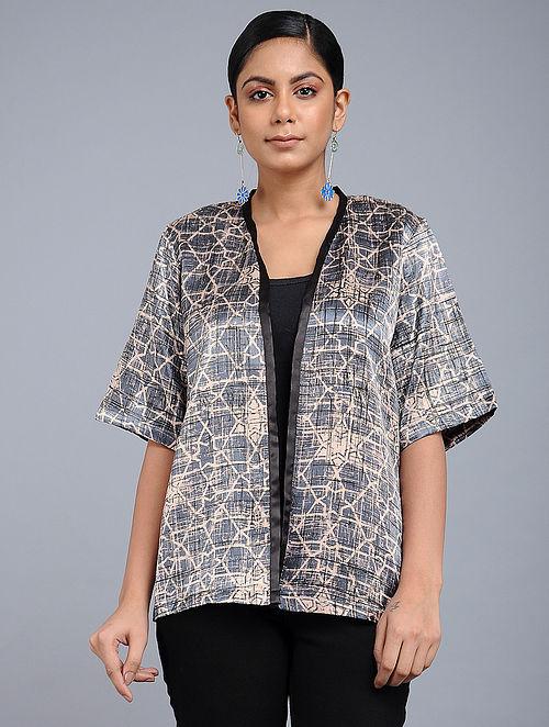 75fd7e4c35267 Buy Grey Handblock-Brush printed Mashru Silk Top Online at Jaypore.com