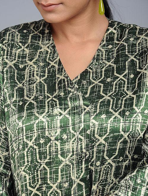 8c5dba7bb7911 Buy Green Handblock-Brush printed Mashru Silk Top Online at Jaypore.com