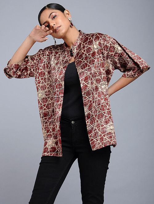 eb13dc6220962 Red Handblock-Brush printed Mashru Silk Overlay Crafted In Elegance