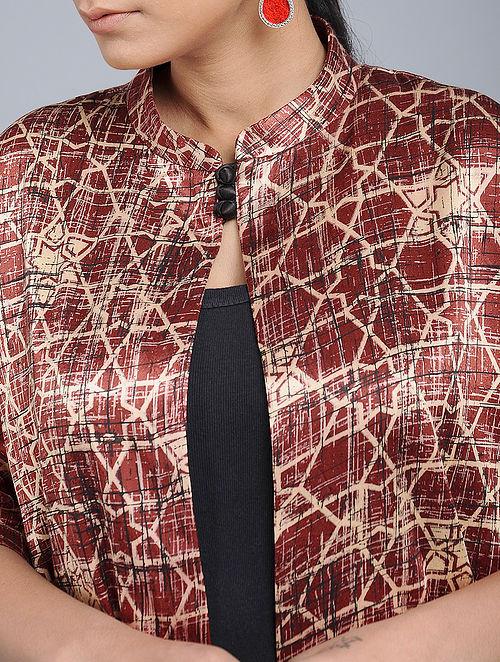 d702b1b3e0afb Buy Red Handblock-Brush printed Mashru Silk Overlay Online at ...