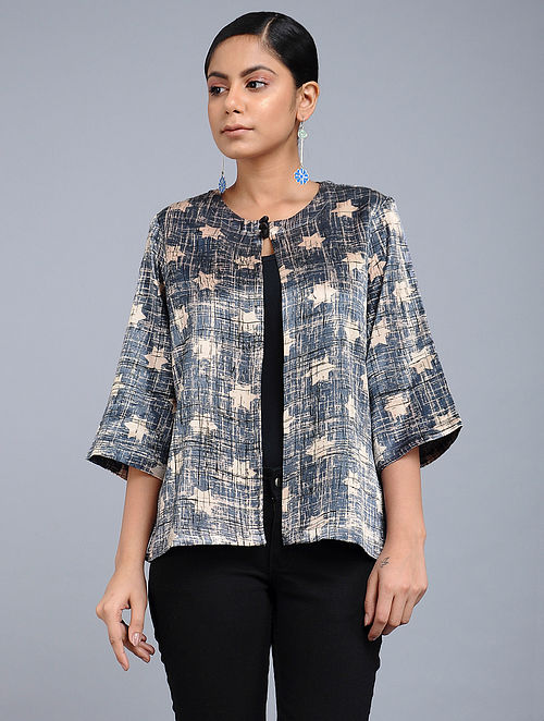 0d03362a2535a Buy Grey Handblock-Brush printed Mashru Silk Overlay Online at ...