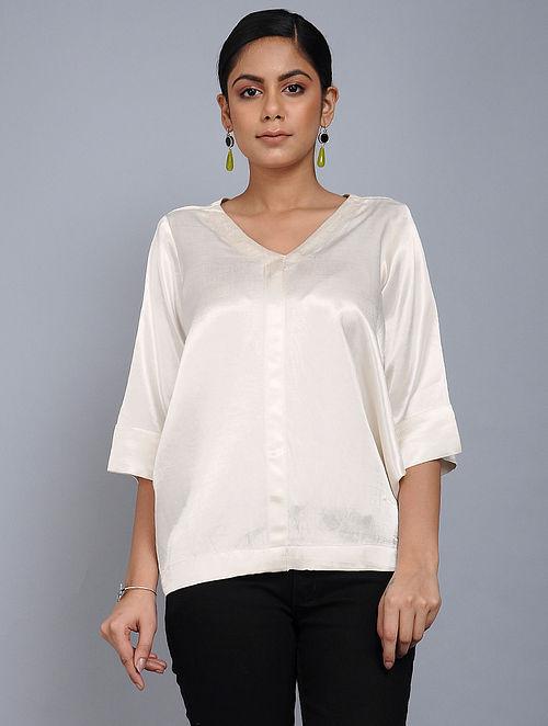 01b3b002ae0bf Buy Ivory Mashru Silk Overlay Online at Jaypore.com