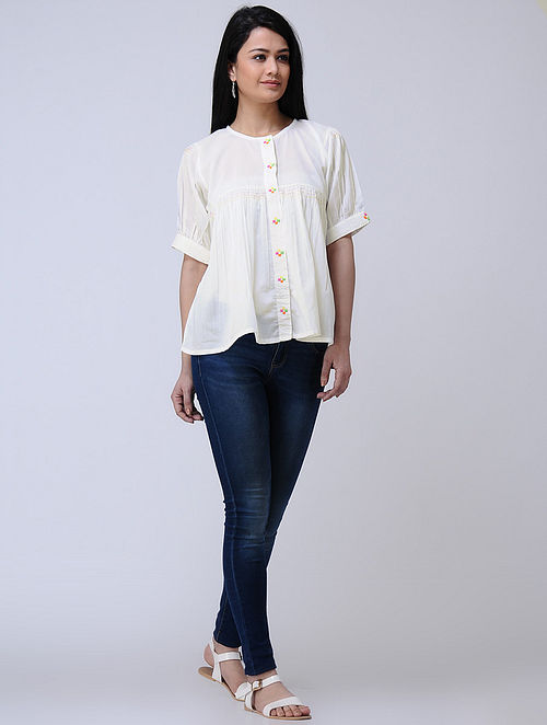 Ivory Kantha-embroidered Handwoven Cotton Top