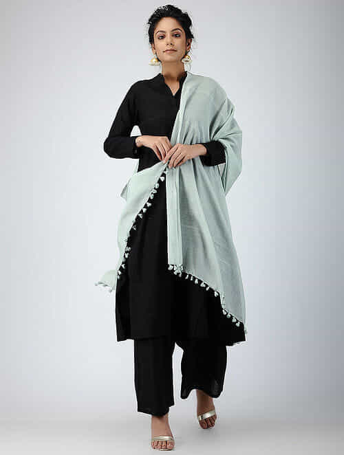 Green Handloom Silk Cotton Dupatta with Tassels