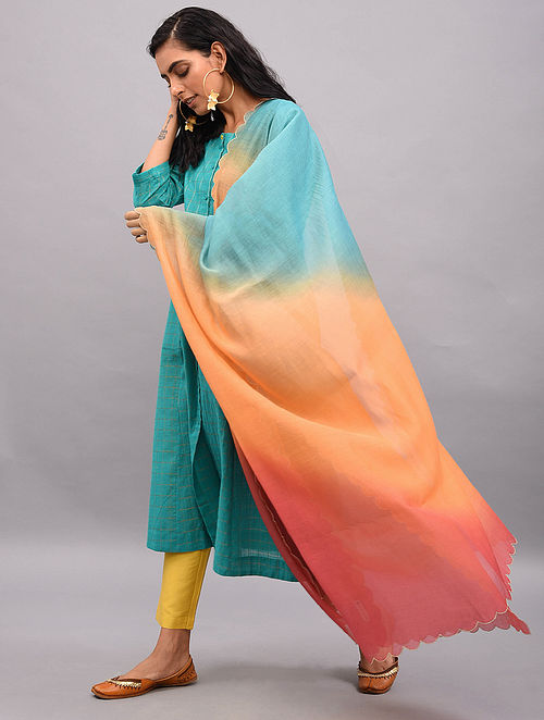 Multicolor Ombre Dyed Silk Cotton Dupatta with Scallop Edges