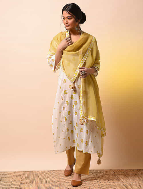 62958fe3a8bc AHILYABAI - Yellow Kota Cotton Dupatta with Printed Border with Tassels  Apparel, Jewelry, Accessories, And More