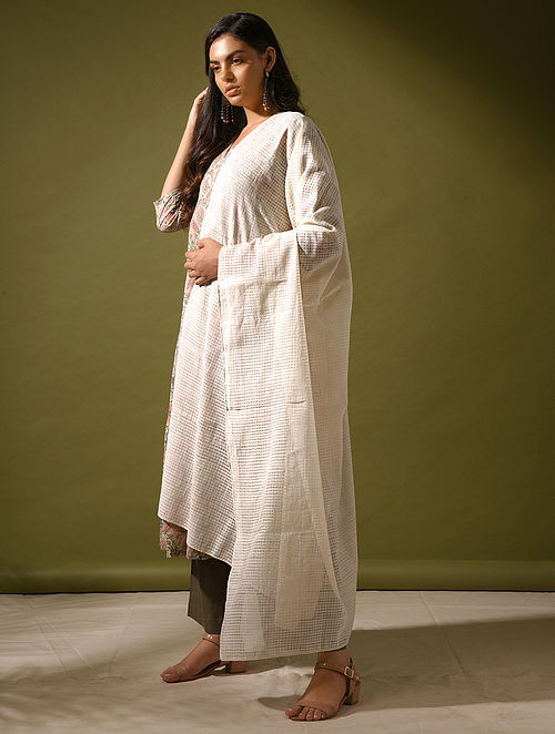 VATIKA - Ivory Handloom Cotton Dupatta
