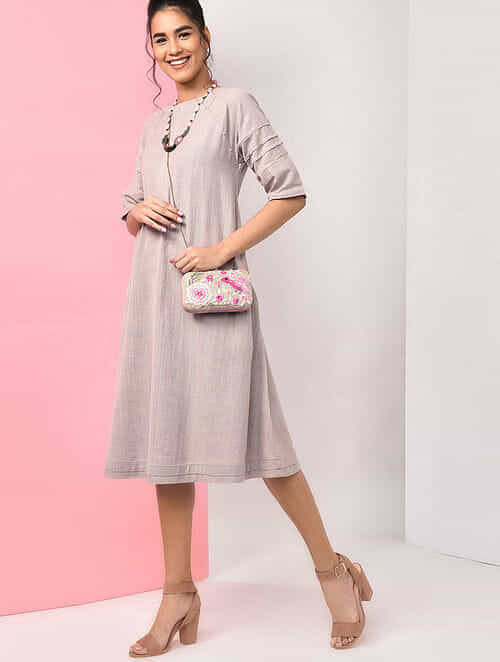 Beige Natural-dyed Handloom Cotton Dress with Pockets