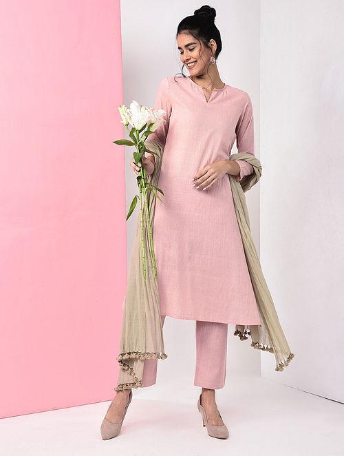 Pink Natural Dye Handloom Cotton Kurta