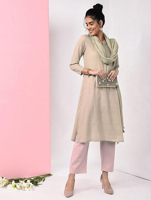 Beige Natural Dye Handloom Cotton Kurta