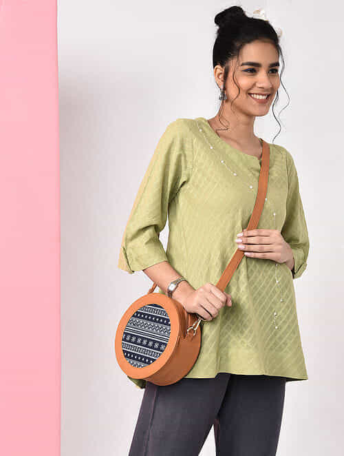 Green Natural-dyed Handloom Cotton Top