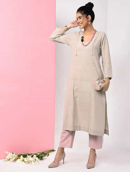 Beige Natural-dyed Handloom Cotton Kurta