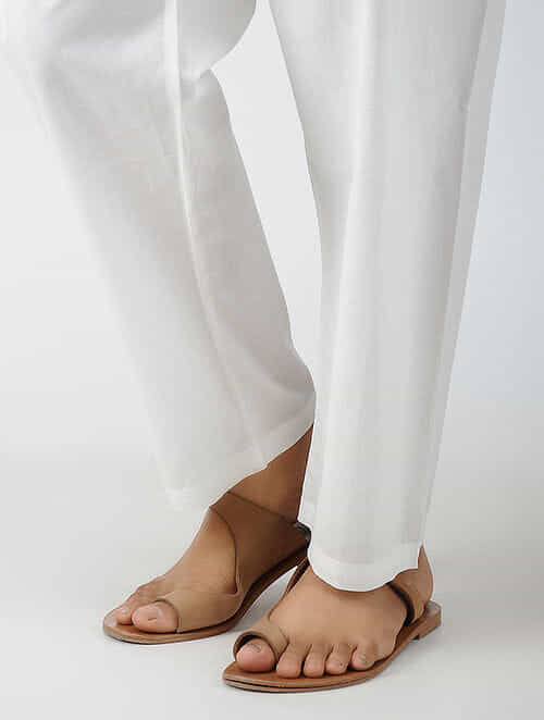 White Tie-up Waist Cotton Pants