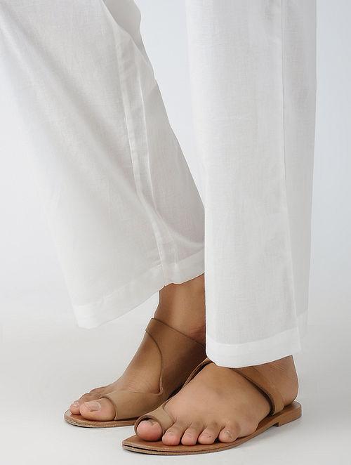 White Elasticated-waist Cotton Pants