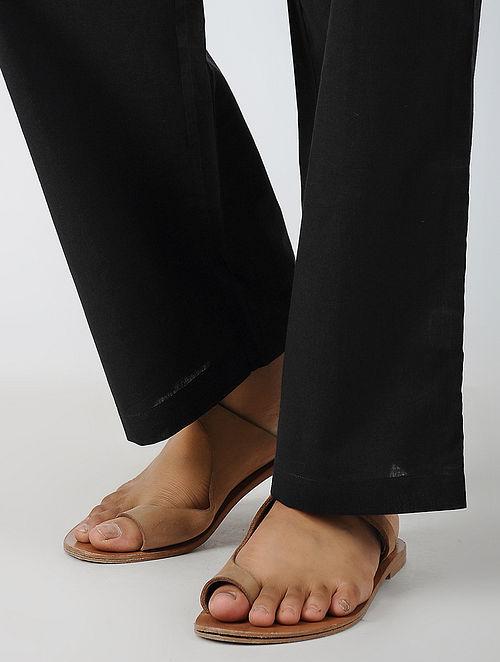 Black Elasticated-waist Cotton Pants