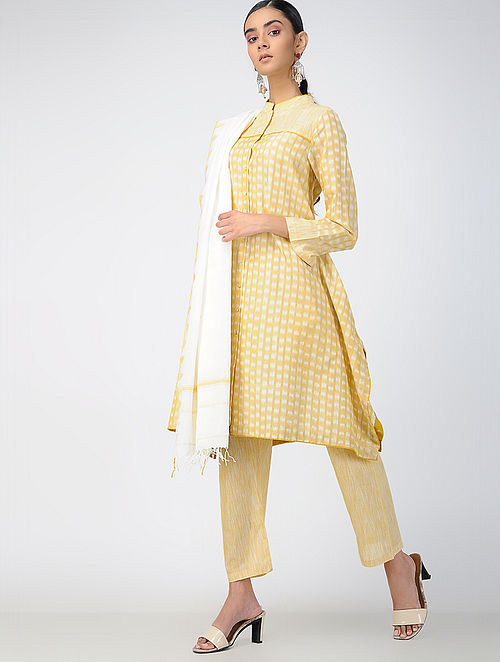 Yellow Handloom Ikat Cotton Front-open Kurta