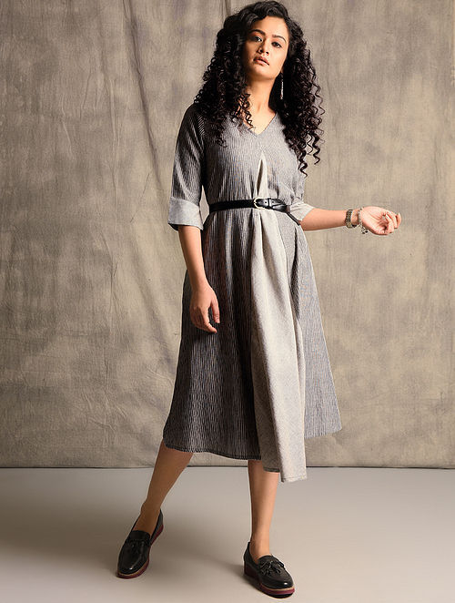 Black Handloom Cotton Dress with Pockets