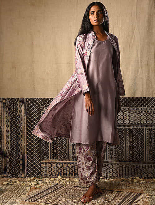 Lilac Khari Printed Chanderi Jacket with Kurta (Set of 2)