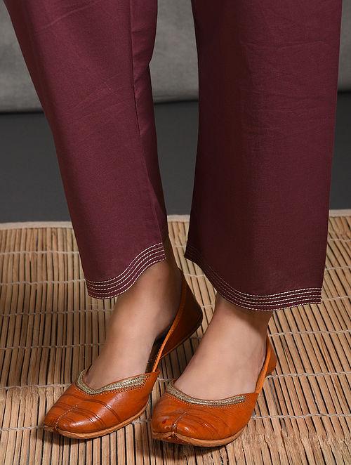 Pink Tie-up Waist Cotton Pants with Zari