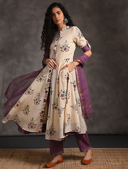 Ivory-Purple Front-open Printed Cotton Kurta with Pockets