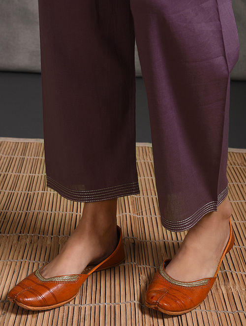 Purple Tie-up Waist Cotton Pants with Zari