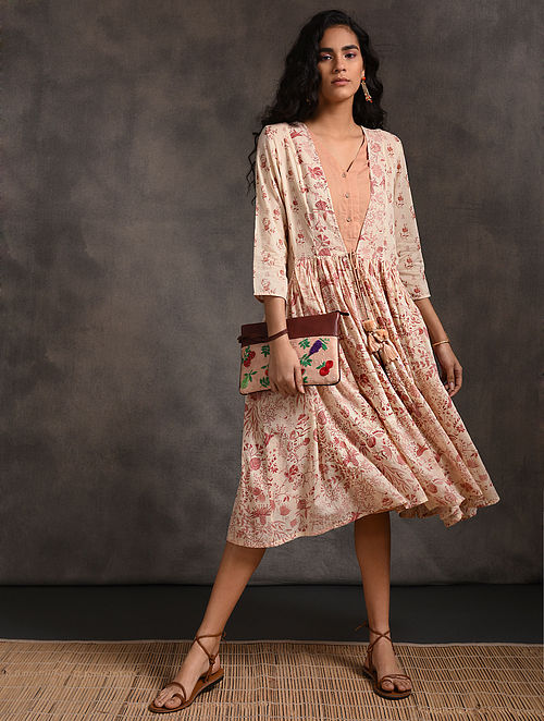 Ivory-Pink Printed Cotton Dress with Gathers