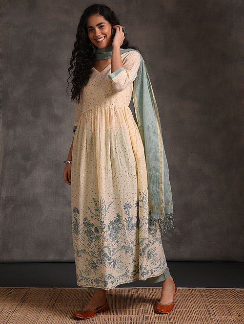 Ivory-Teal Printed Cotton Kurta with Gathers