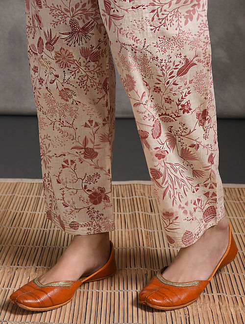 Pink Printed Tie-up Waist Cotton Pants