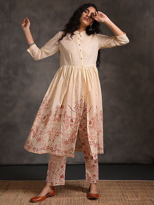 Ivory-Pink Front-open Printed Cotton Kurta