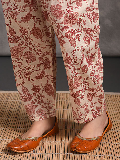 Pink Printed Tie-up Waist Cotton Pants