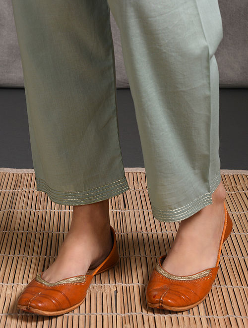 Teal Tie-up Waist Cotton Pants with Zari