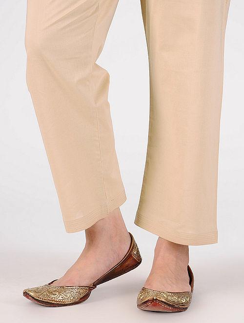 Beige Tie-up Waist Cotton Pants