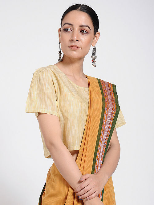 Yellow Handloom Ikat Cotton Blouse