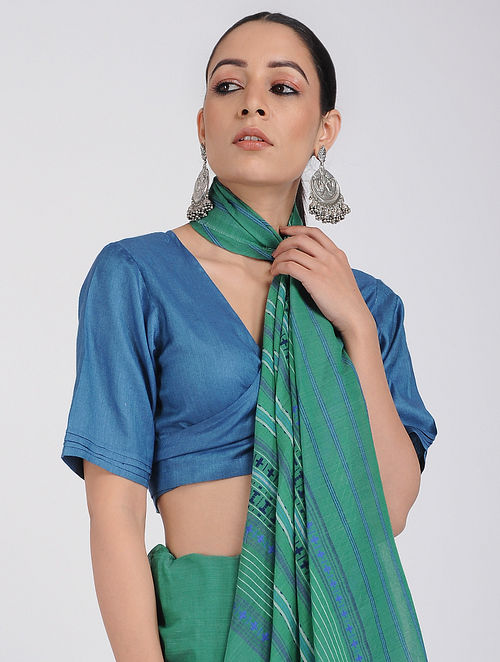 Blue Silk Cotton Blouse